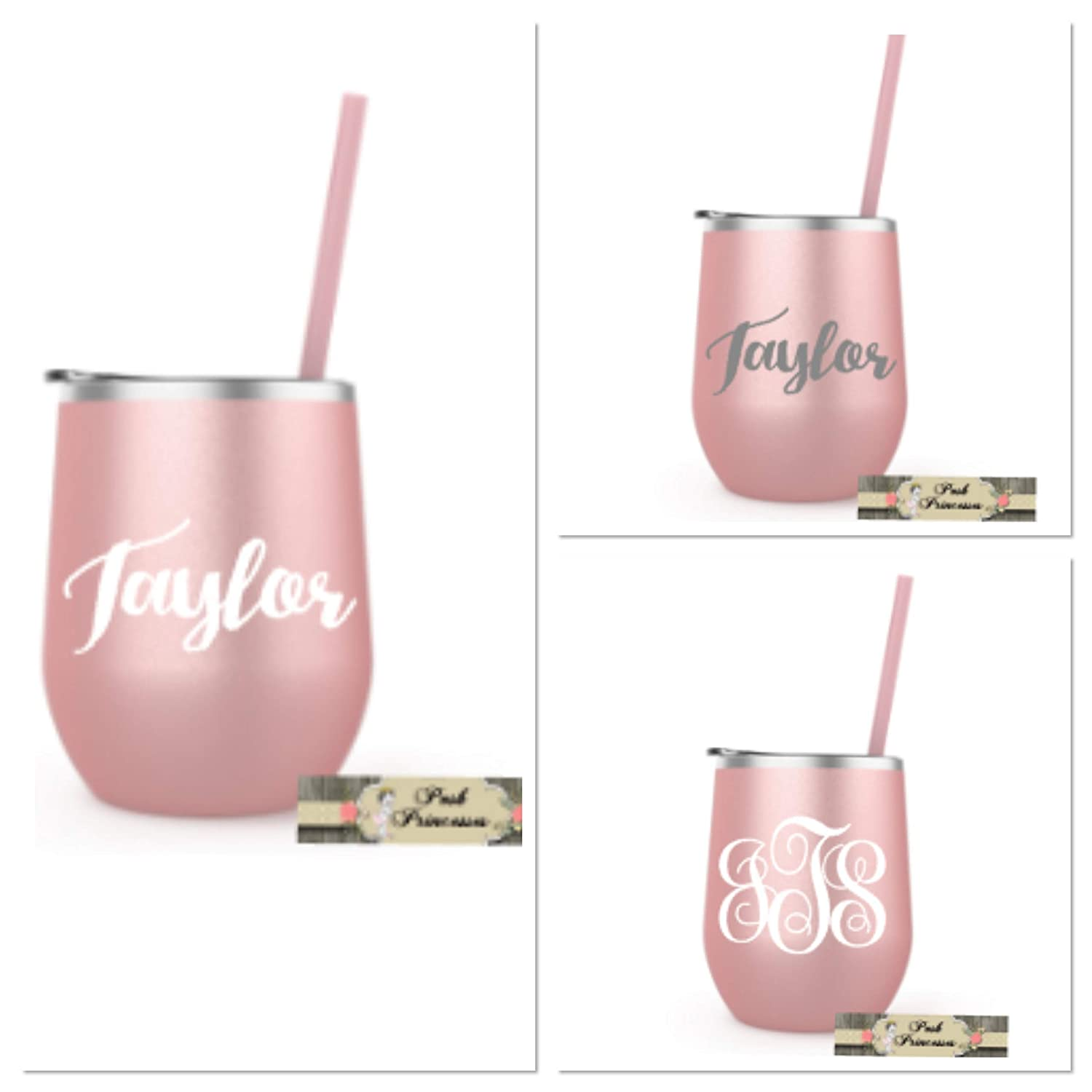 Stainless Steel Wine Tumbler, Rose Gold ONE 12oz Cup Personalized