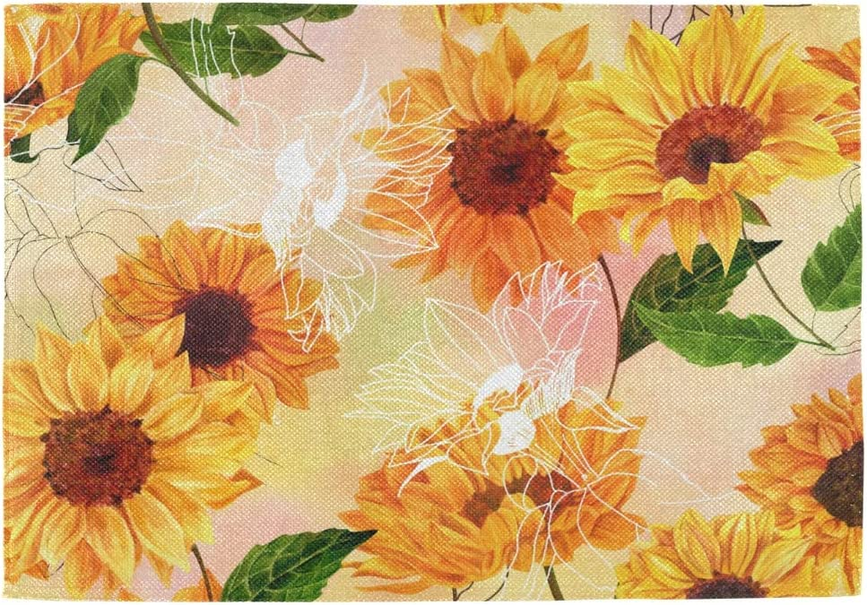 Amazon Com Bardic Unimagic Set Of 4 Washable Placemat Vintage Sunflower Print Table Mats 18x12 Inch Heat Resistant Non Slip Place Mats For Kitchen Dining Table Home Kitchen