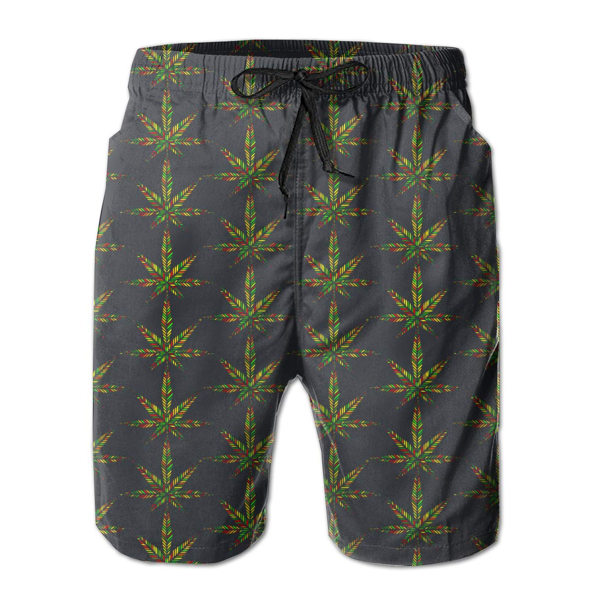 MikonsuRasta Colorful Marijuana Leaf Weeds Mens Swim Trunks Quick Dry Bathing Suits Beach Holiday Party Board Shorts White