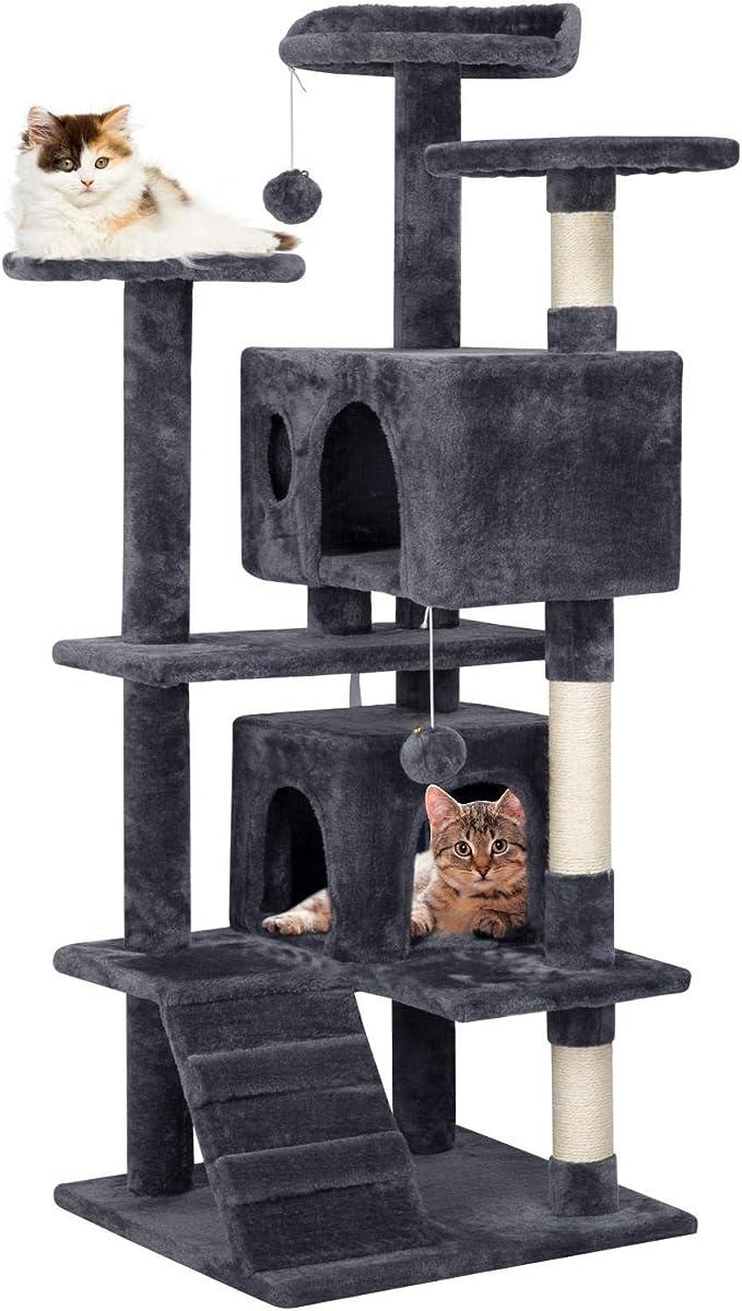 Yaheetech Árbol para Gatos Rascador Casa para Gatos Escalera Juguete de Sisal Altura 130 cm Gris: Amazon.es: Productos para mascotas