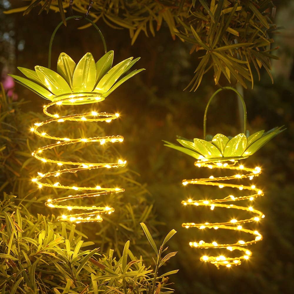 JSOT Hanging Solar Lights 60 LED Outdoor Landscape Decorative Copper Wire Pineapple Fairy Lights Waterproof Solar Lantern Lamp for Garden Yard Patio Lawn Balcony Path