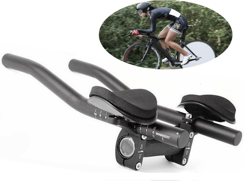 Yeemg TT Manejar la Manilla Aerobarras de Resto de Bicicleta para Triatlón Contrarreloj Descanso de Bicicleta y Bicicleta de Carretera Aleación de Aluminio Versión Mejorada (Negro)