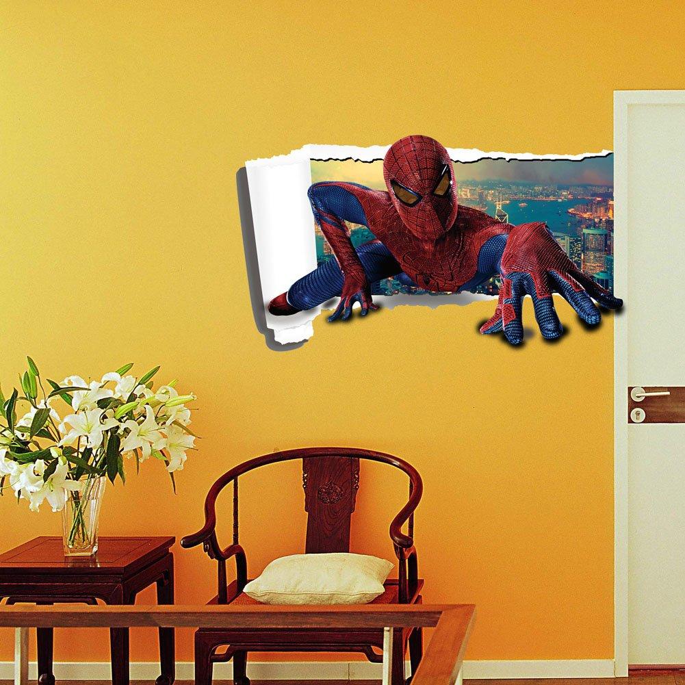Amazon.com: Fangeplus(TM) DIY Removable 3D The Spider Man Super Hero ...