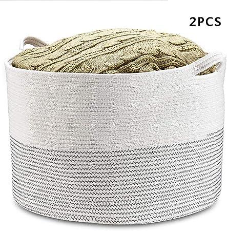 Cesta de almacenamiento de tejido de Algodón Cesta De Ropa De Bebé Tejida cestas con mango