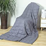 Adults Weighted Blanket 15 lbs(60''x80'', Grey, Queen Size), Cooling Weighted Blanket for Adult, 100% Cotton Heavy…