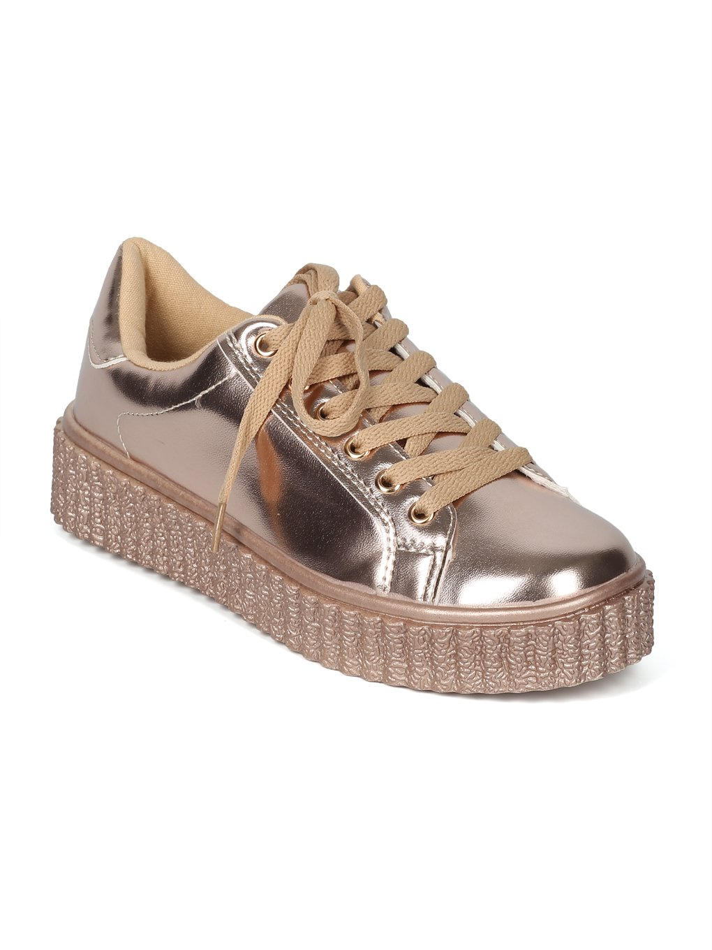 Women Metallic Round Toe Lace up Flatform Creeper Sneaker HK84 by Wild Diva B07F5FPQPC 5.5 B(M) US|Rose Gold Metallic