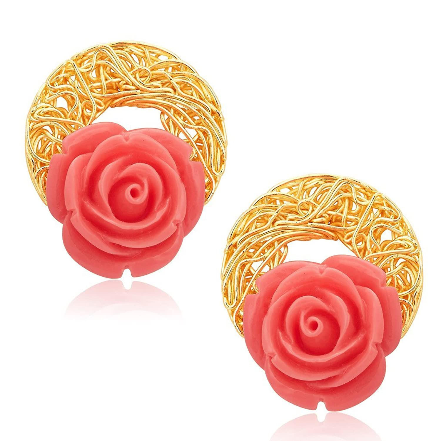 loop dogeared playing plated by goldplated stud ear double gold earrings