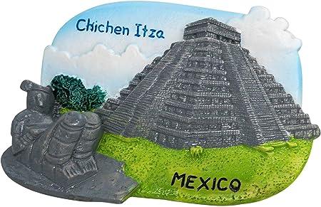 zamonji Civilización Maya en Chichén Itzá, México | El Castillo/Templo de Kukulcan, Estatua de Chac Mool | 3D Resina Imán de Nevera Recuerdos de Viajes Mexicanos: Amazon.es: Hogar