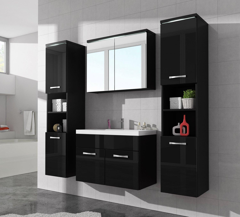 armadietto da bagno paso xl 80 cm, nero lucido fronti - armadio ... - Lucido Cabinet Grigio Lavandino