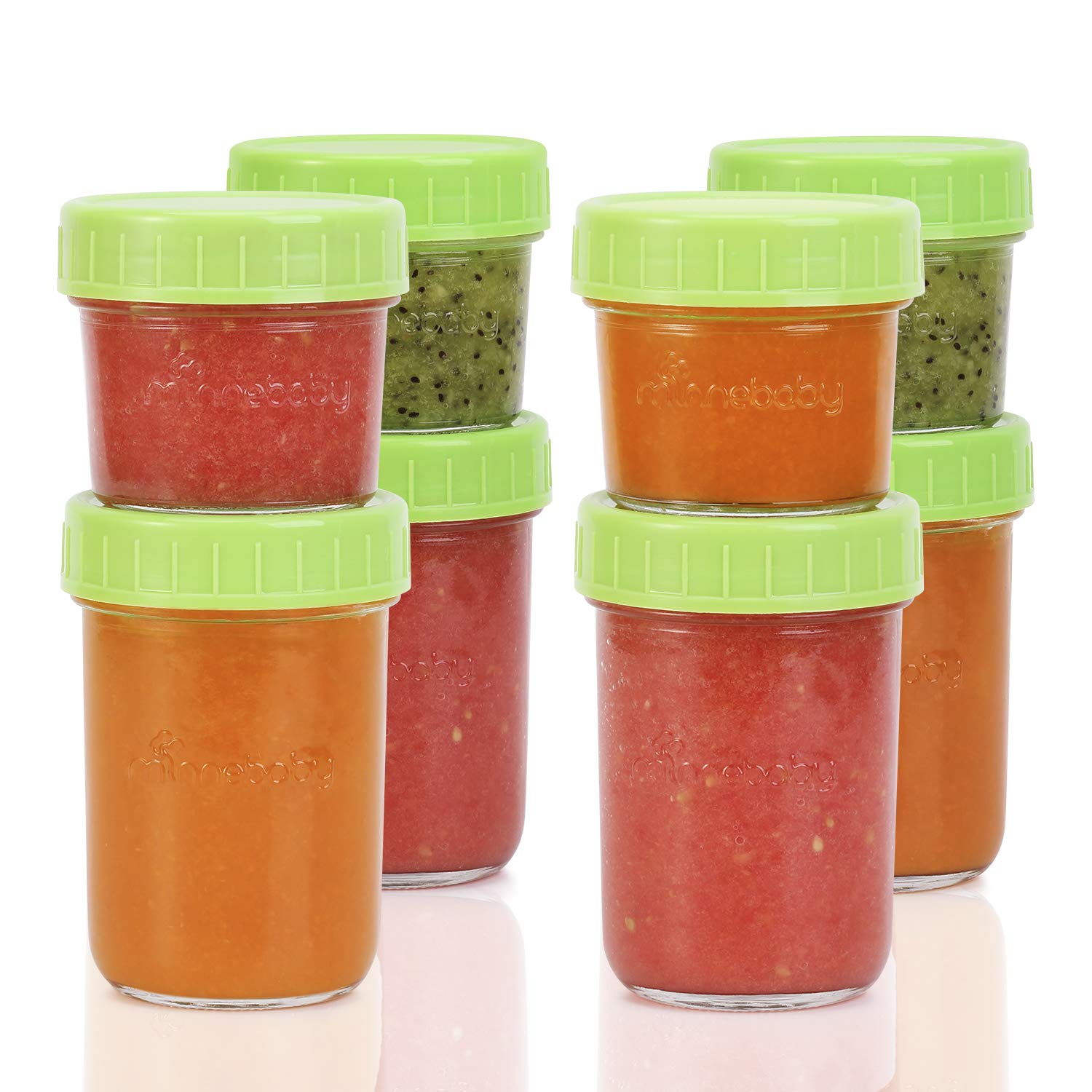 Glass Baby Food Storage Containers - Set Contains 4 Small Reusable 4oz Jars and 4 Large Reusable 8oz Jars with Airtight Lids and Waterproof Label