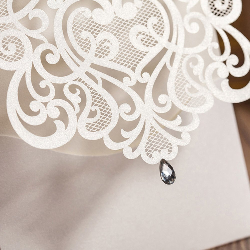 Hollow White Wedding Invitations Elegant Laser Cut Birthday Party Banquet Celebration Cardstock with Rhinestone CW5001 (100)