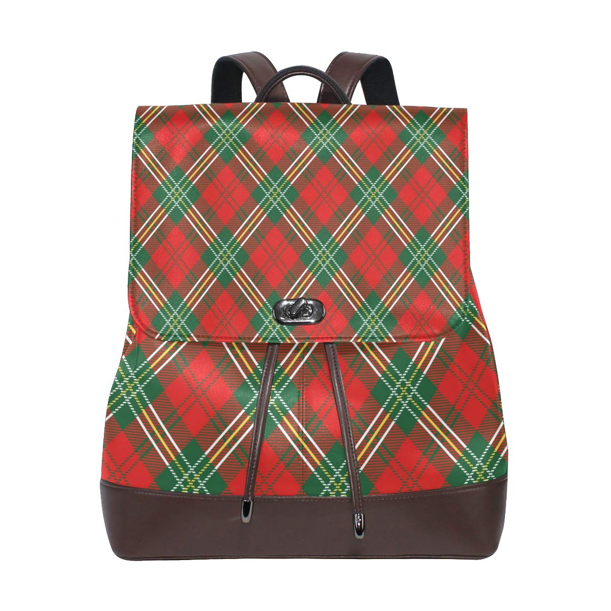 KEAKIA Women PU Leather Red Plaid Backpack Purse Travel School Shoulder Bag Casual Daypack