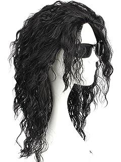 CLOCOLOR Michael Jackson Cosplay Costume Peluca de Cabello Rizado Largo Peluca Sintética Natural Mujer Hombre Niños