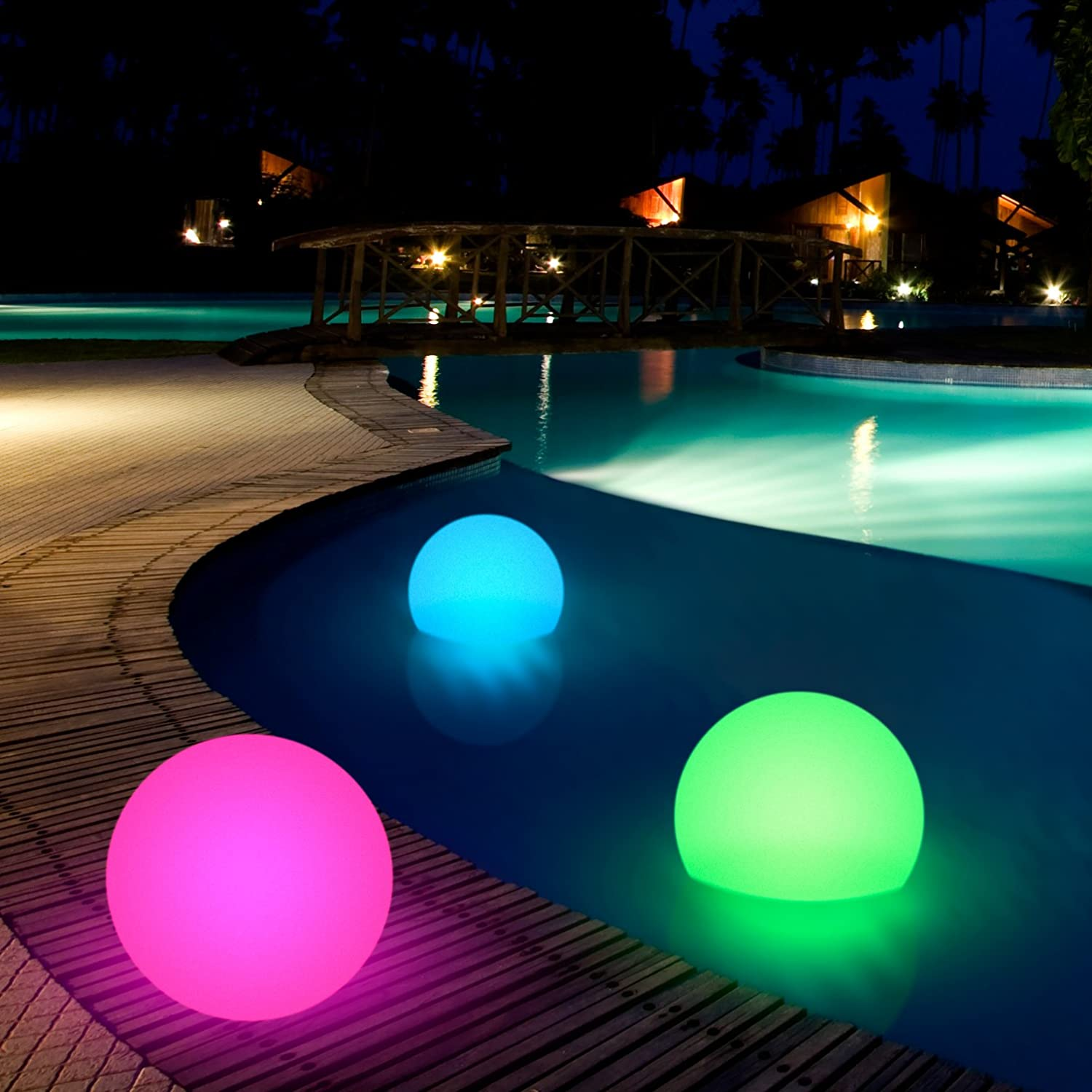 Amazon Com Floating 10 Light Up Led Ball With Charger Remote Color Change Lights Health Personal Care