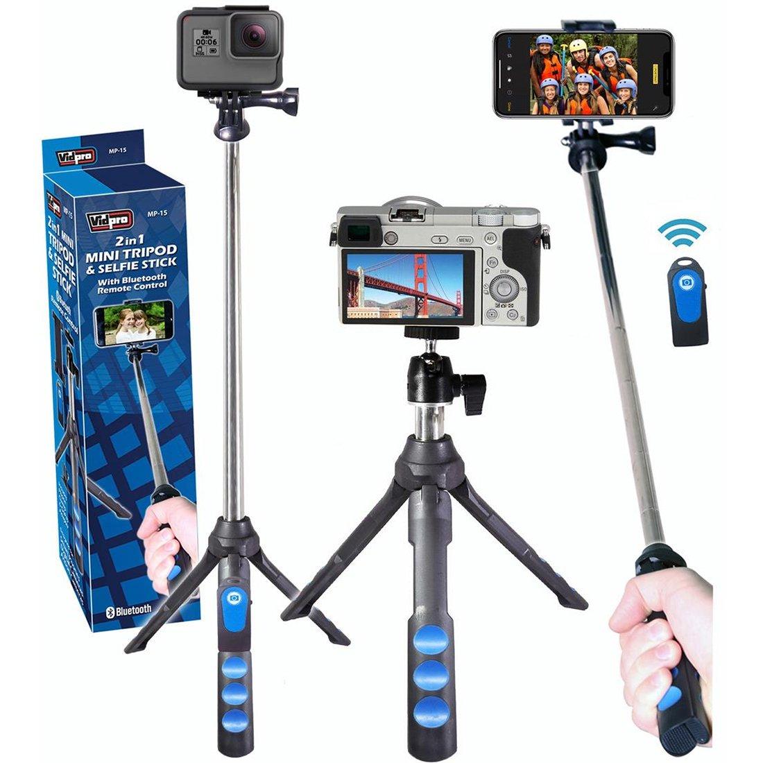 Vidpro mp-15 2イン1ミニ三脚/Selfie Stick with Bluetoothリモートコントロール   B07D82MZ7P