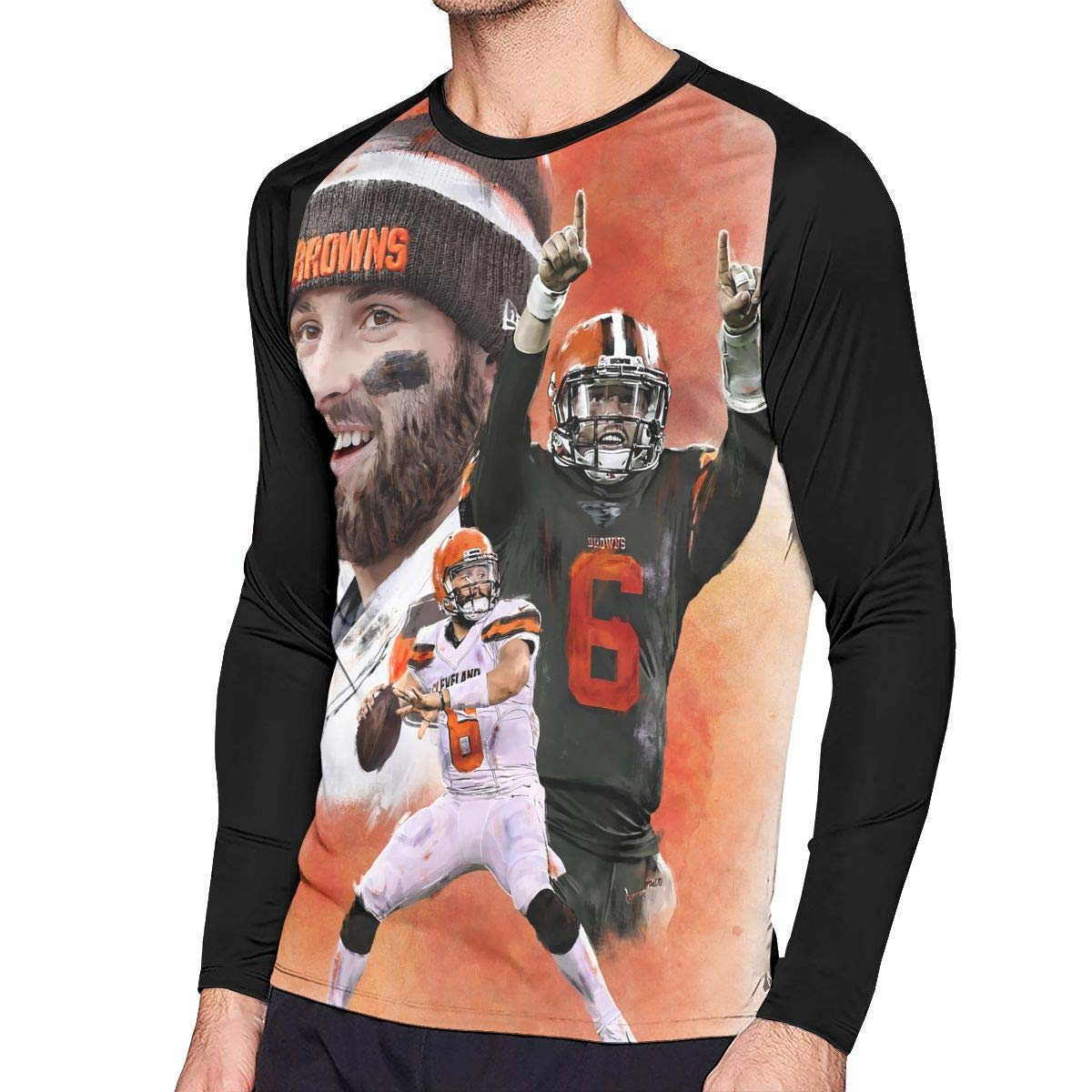 new product bc2f9 1956a Amazon.com: Baker Mayfield Art Men Long Sleeve Music Band ...