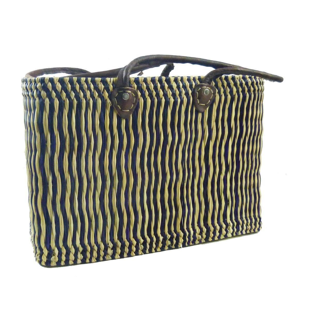 Simandra Seegras Tasche Korb Einkaufstasche Einkaufskorb Flechtkorb Korbtasche Palmgras Langer Griff Mittel Color Natur