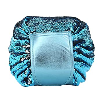 47c1e89f0cac Amazon.com   Funbase Mermaid Sequin Drawstring Cosmetic Bag Waterproof  Travel Pouch Evening Party Clutch   Beauty