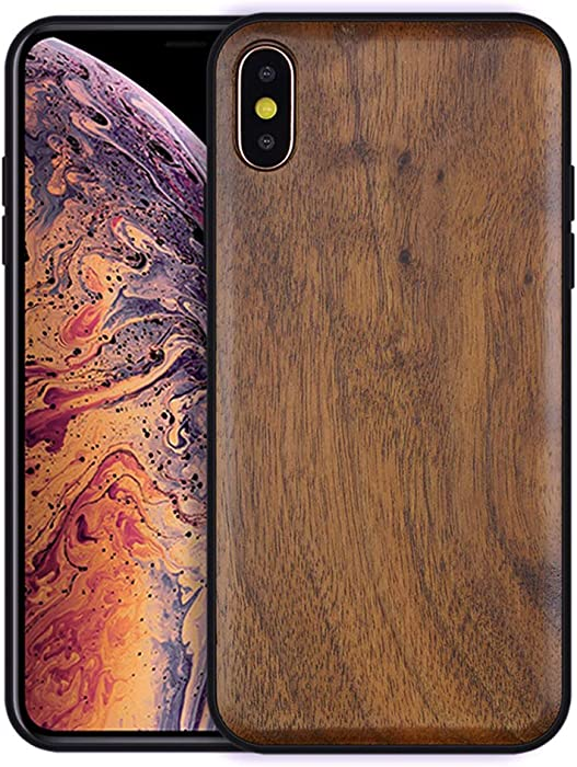 Boogice iPhone X/XS Wood Case - Real Natural Walnut,- Slim Shockproof Hybrid Wooden Cover for iPhone X/XS (Walnut)