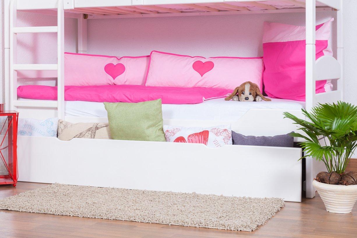 Stockbett mit Bettkasten Easy Sleep K3/h inkl. Liegeplatz und 2 Abdeckblenden, 90 x 200 cm Buche Vollholz massiv weiß lackiert, teilbar