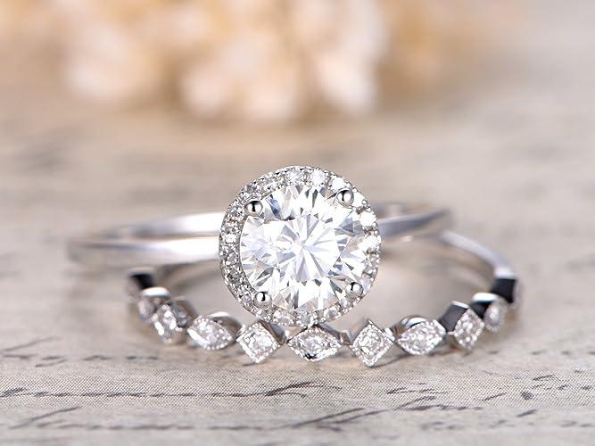 6523d95e158e5 Moissanite Engagement Ring Set 6.5mm Round 14k White Gold Plain ...