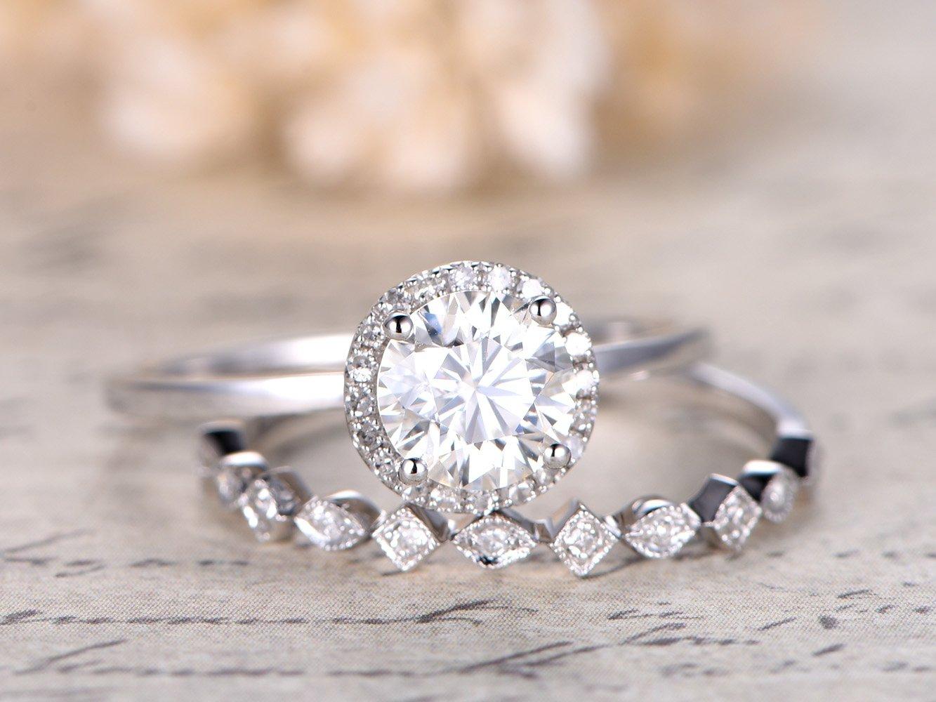Moissanite Engagement Ring Set 6.5mm Round 14k White Gold Plain Band Halo Women Wedding Ring, Half Eternity Antique Marquise Milgrain Diamonds Stacking Bands Anniversary Promise for Her