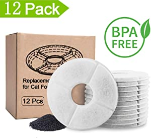 Hellosam Pet Fountain Filter Replacement - 12 Packs, Pet Water Fountain Filter, Pet Fountain Automatic Water Dispenser Filters Activated Carbon Drinking Water Fountain Filters Replacement (12PCS)