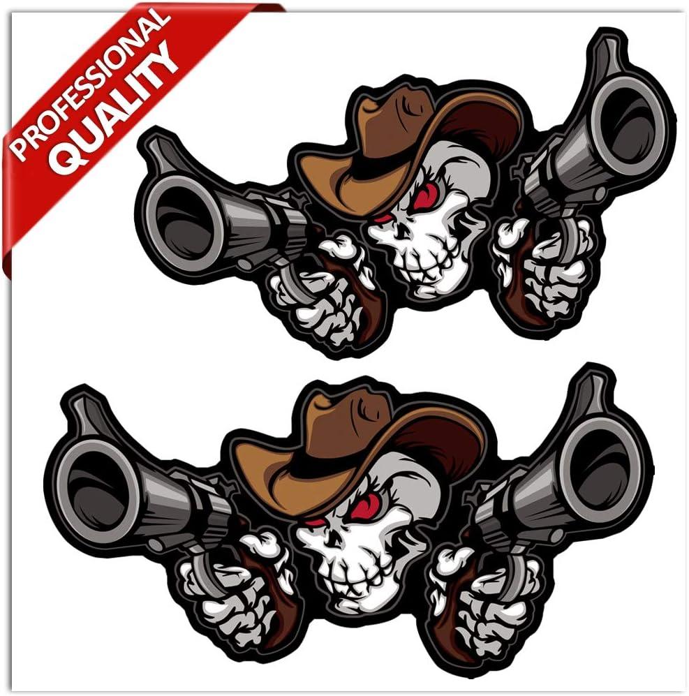 Skinoeu 2 Stück Vinyl Aufkleber Stickers Autoaufkleber Skull Guns Waffe Cowboy Schädel Totenkopf Fenster Auto Motorrad Fahrrad Tuning B 157 Auto