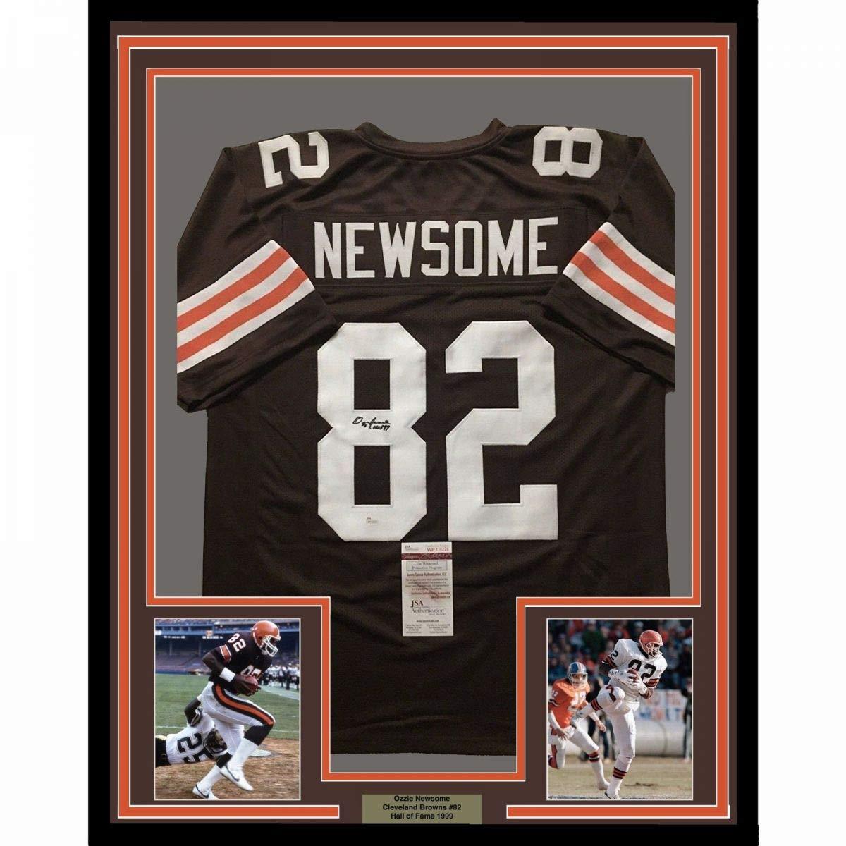 dd43c7186 Framed Autographed Signed Ozzie Newsome HOF 99 33x42 Cleveland Brown  Football Jersey JSA COA