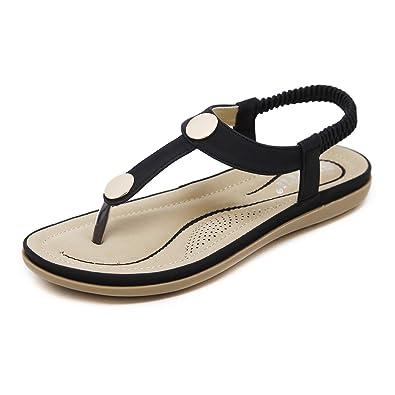 Sandalen Damen Sommer Bohemia Beach Sandal Flach Sommerschuhe Sandals PU Leder Zehentrenner Flip Sandalen Toe...