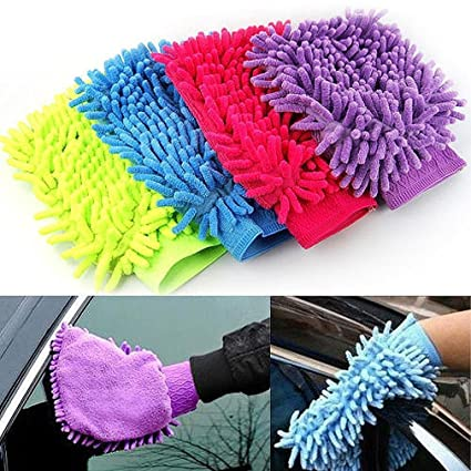 Truvic Cleaning Cloth Car Wash Washing Gloves Car Washer Towel Home Window Brush For Washing (1 - Pc)
