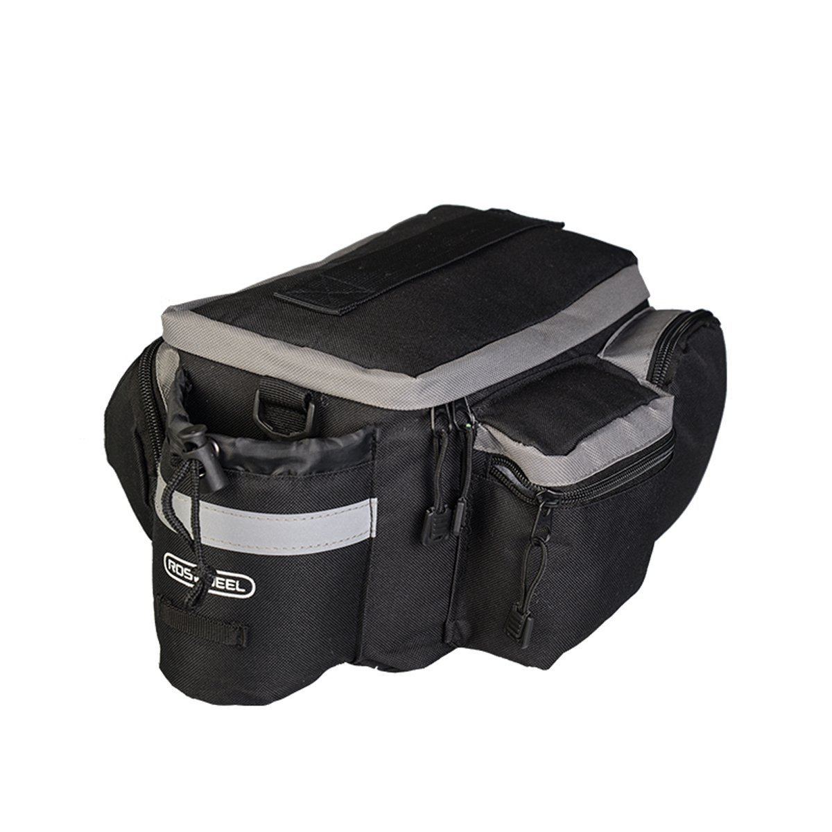 TraderPlus Bike Pannier Bag - Durable & Waterproof Nylon with Reflector Handbag | Shoulder Strap Rack Rear Trunk Tote Bag | Strong Velcro, Zipper Pockets & Bottle Case by TRADERPLUS (Image #4)