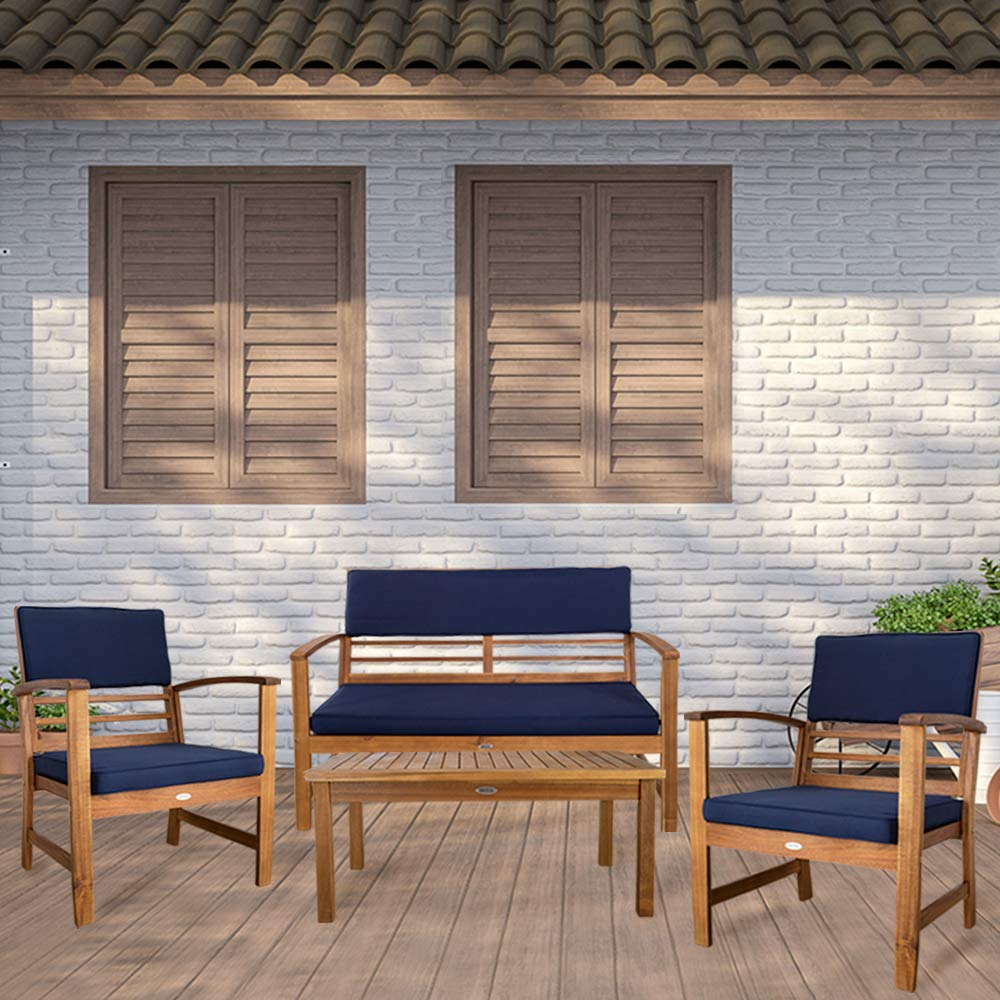 Aktive Garden 61001 - Muebles de Jardín Mesa, Banco y Sillones de Madera