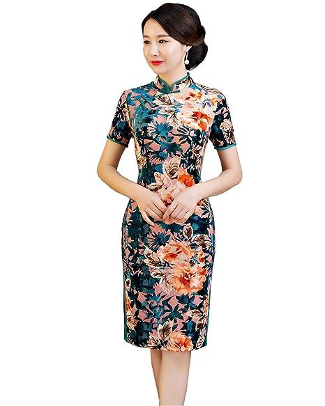 Amazon.com: Shanghai Story - Vestido de queso chino de seda ...