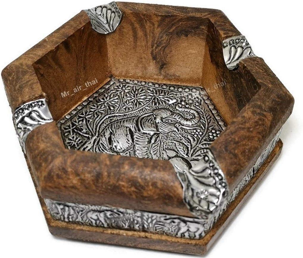 Vintage Wooden Ashtray Outdoor Cigar Ashtray Aluminum Hexagon Antique Home Decor Wood AS003