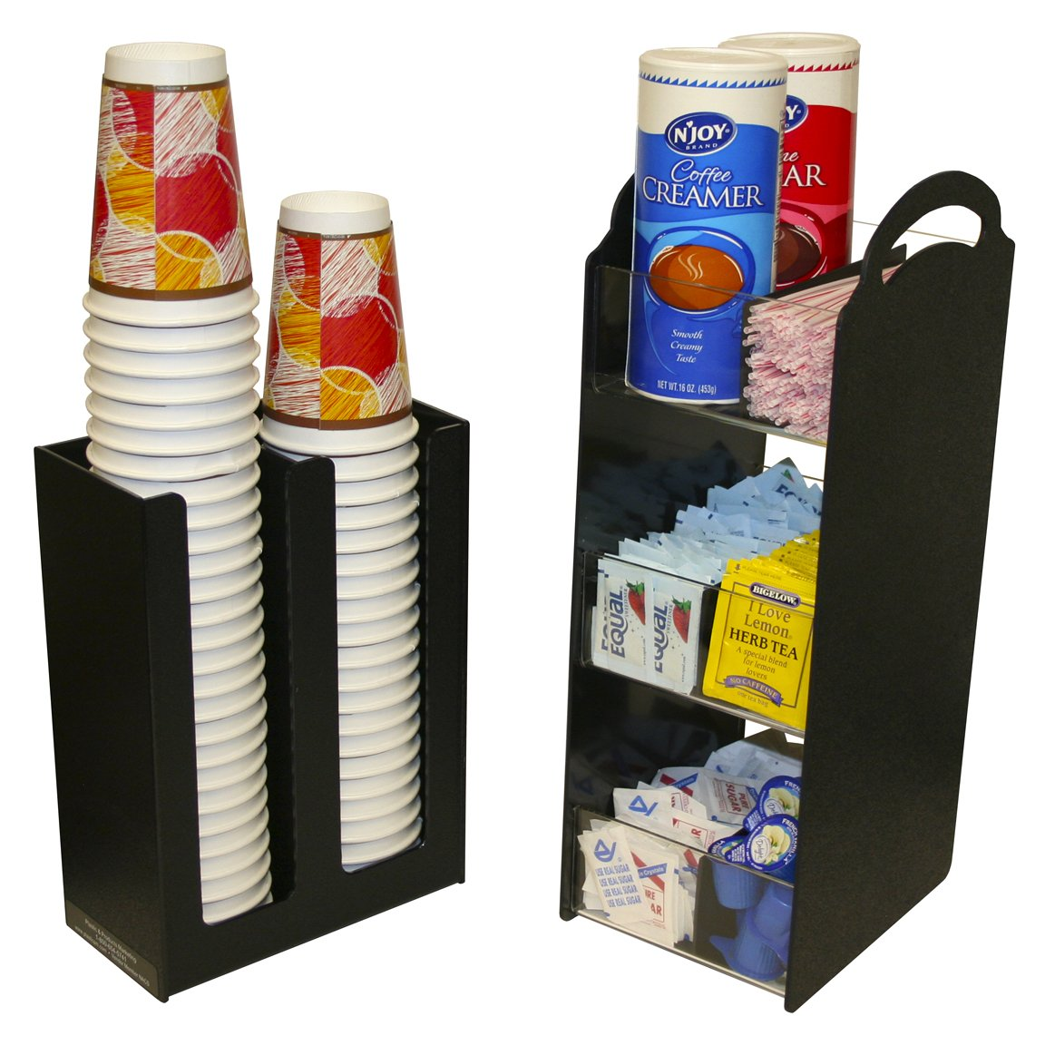Coffee Condiment Organizer Combo with cup and/or Lid Holder. 2 Piece combo - One Great Price! Great for Small Offices, Waiting rooms or Coffee Service Areas. Each shelf has a Movable Divider. Use Together or Separately. Proudly Made in the USA ! by PPM.