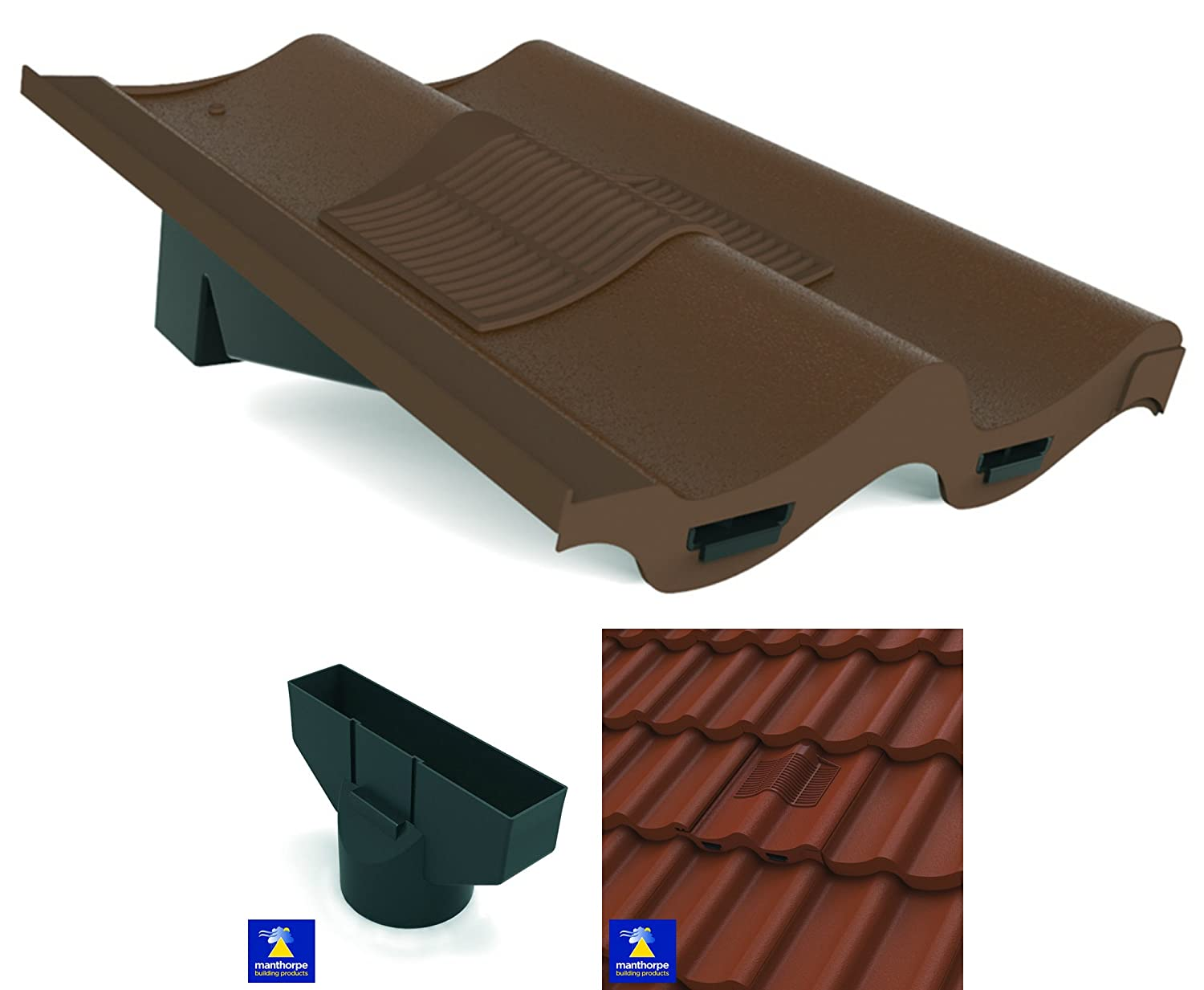 Brown Marley Mendip, Redland Grovebury Double Pantile Roof In-Line Tile Vent Ventilator & Flexi Pipe Adaptor Manthorpe