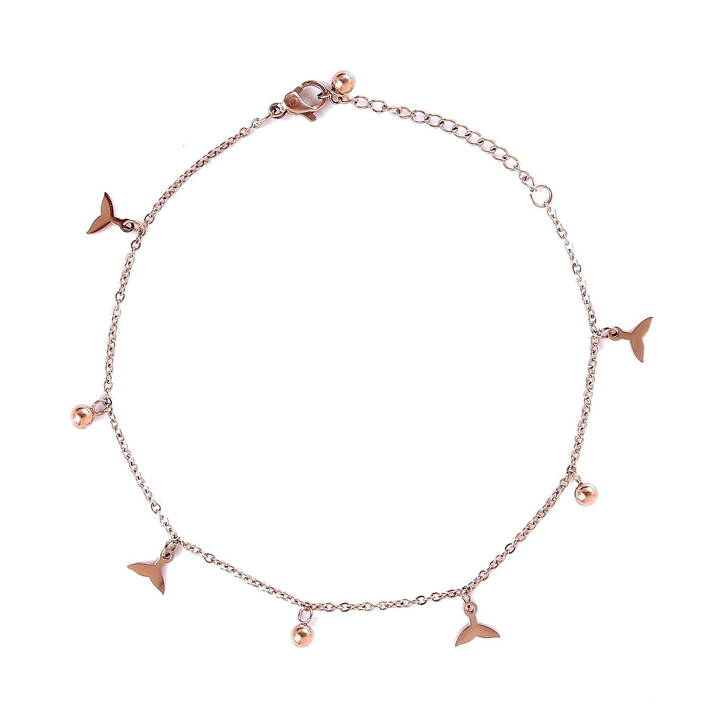 Nami Bracelet de cheville pour femme en acier inoxydable avec pendentif en or rose