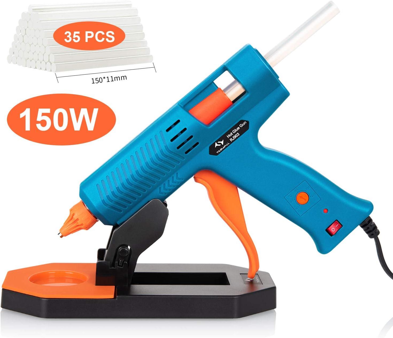 Pistola de Silicona 150W Tilswall,Pistola de Pegamento con 35pcs Barras (11mm), 5 Temperaturas Ajustables,la Base,Pistola Manualidades para Bricolaje Arte,Reparaciones,Oficina y Escuela