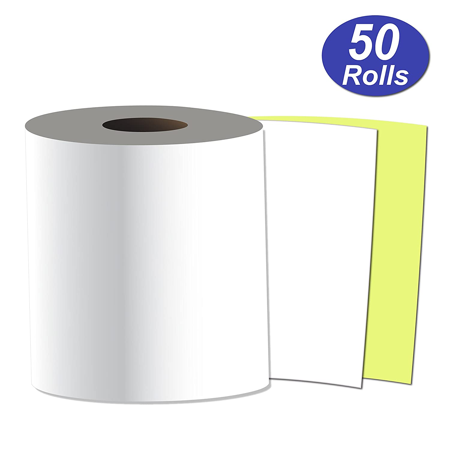 White//Yellow Case of 50 3 x 90 Carbonless 2ply Bond Receipt Paper Rolls
