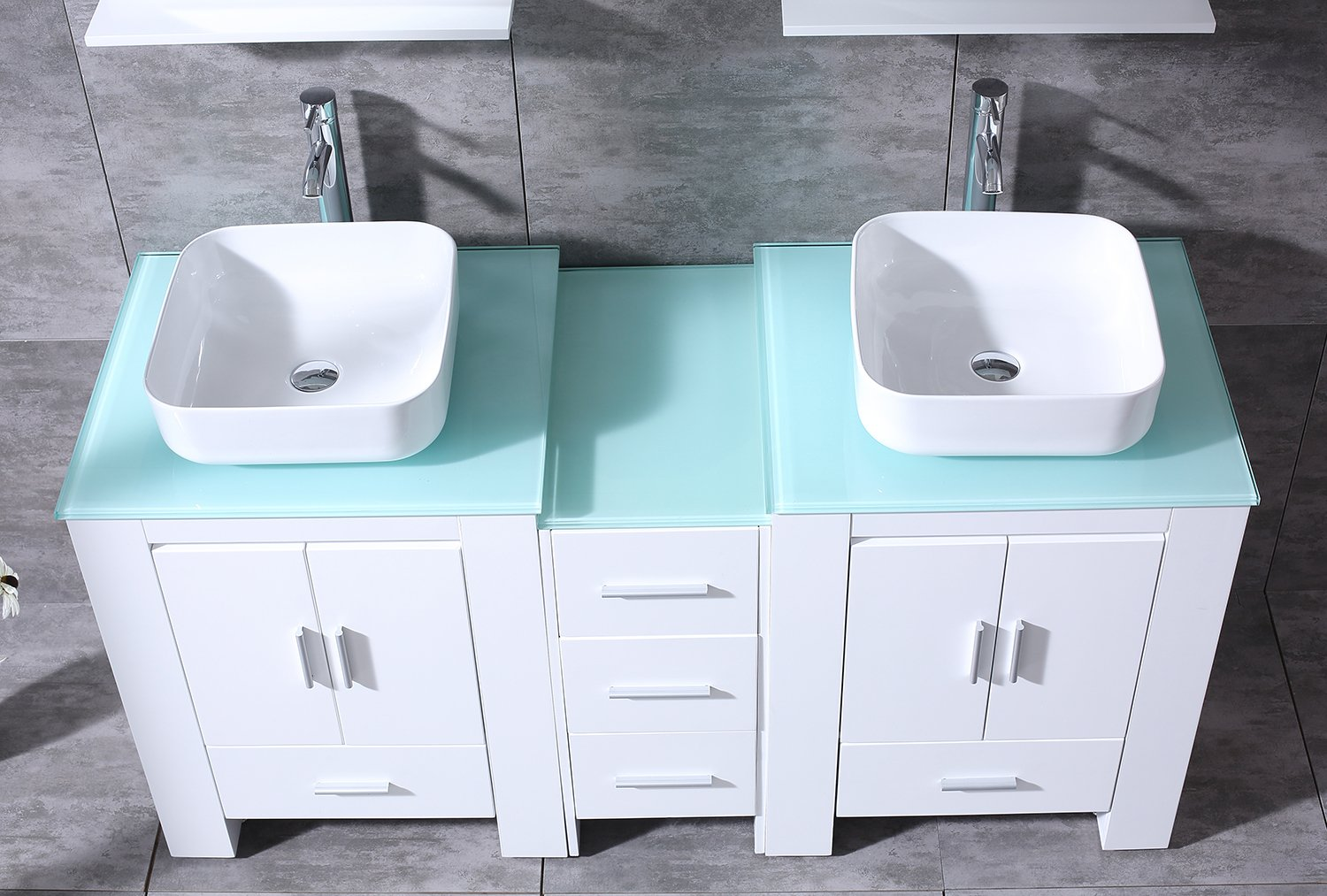 """BATHJOY Luxury 60"""" White Bathroom Double Wood Vanity Cabinet with Square Ceramic Vessel Sink and Mirrors Faucet Drain Combo by BATHJOY (Image #6)"""