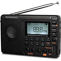 Retekess V115 Radio, Portable AM FM Radio Digital Tuner, Rechargeable Radio Support Recording, Portable MP3 Radio with…