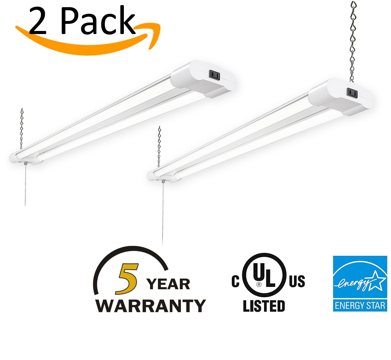 2-Pack LED Utility Shop Light, Super Bright 5000K Natural White 4800 Lumens 40W Linkable Fixture with 2-Prong Plug 5ft. Cord and Pull Chain - UL/cUL & DLC Certified