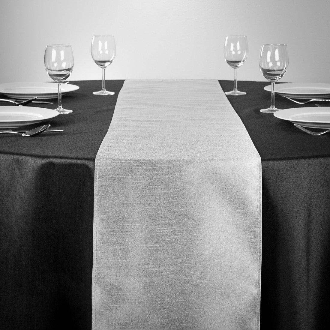 LinenTablecloth Shantung-Seide Tischläufer, 35,6 x 274,3 cm Silber Silber cm 2e5f83