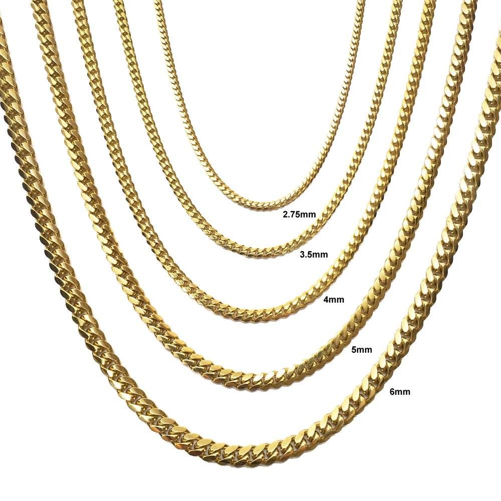 10K Solid Yellow Gold 4mm Miami Cuban Chain with Lobster Clasp, 24-inches, from Joule Shop