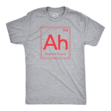 2588254a Ah! The Element of Surprise T Shirt Funny Sarcastic Science Periodic Table  Tee (Grey