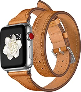 EloBeth Compatible with Apple Watch Band 38mm 40mm Series 6 5 4 3 2 1 Double Wrap Leather iWatch Band Women Girls (Brown, 38mm/40 mm)