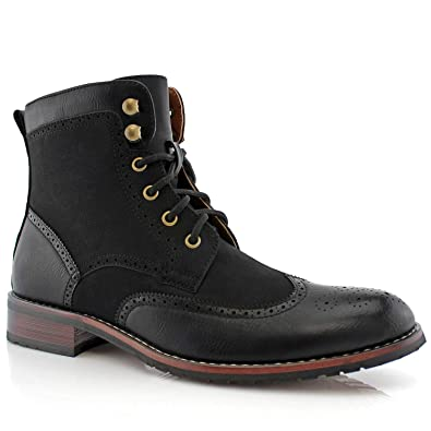 05d9d53cc475 Polar Fox Jonah MPX808567 Mens Casual Perforated Vegan Leather High-Top Red  Wing tip Brogue