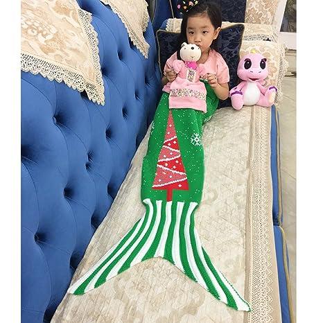 Homy cola de sirena de punto manta para bebés de árbol de Navidad Copos de nieve