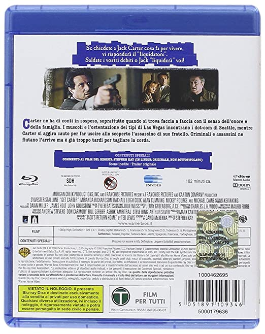 Amazon.com: la vendetta di carter (blu-ray) blu_ray Italian ...
